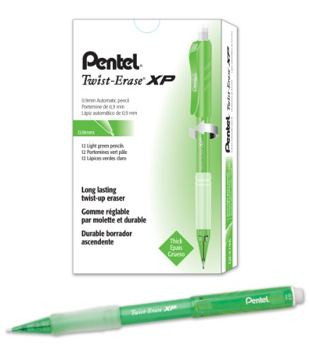 Pentel Twist-Erase Express Mechanical Pencil (0.9mm) Fashion Color, Light Green Barrel, Box of 12 (QE419K)