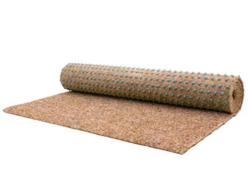Balkonrasen Rasenteppich im Festmaß Vliesrasen mit Noppen - Beige 200 x 100 cm, Höhe 7,5mm, Wasserdurchlässiger Vlies-Kunstrasen, Pool-Unterlage Matte
