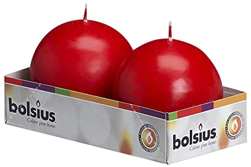 BOLSIUS Set of 2 Red Ball Candles - 2.75 inch Unscented Candle Set - Dripless Clean Burning Smokeless Dinner Candle - Perfect for Wedding Candles, Parties and Special Occasions