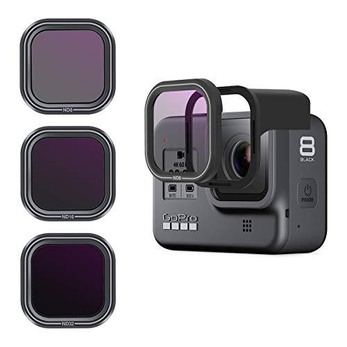 AuyKoo 3 pezzi Filtro obiettivo ND8 ND16 ND32 per GoPro Hero 8, Set filtri ND per filtri densità neutri per accessori GoPro Hero 8