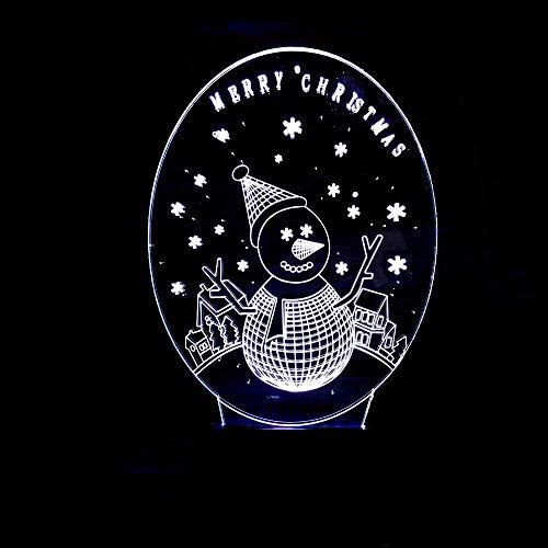 OGUAN Lámpara de mesa de lectura, Muñeco de nieve LED de colores gradientes Ambiente estereoscópica 3D táctil luz de la noche del USB de la cabecera del escritorio remoto decorativo creativo regalo de