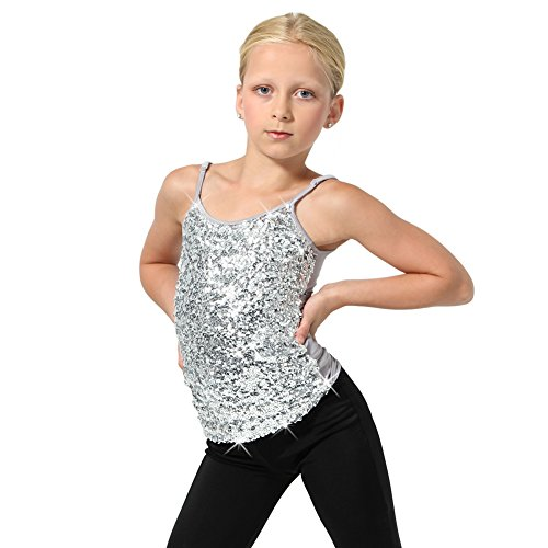 Alexandra Collection Sparkly Sequin Tank Top Girls Tops Silver