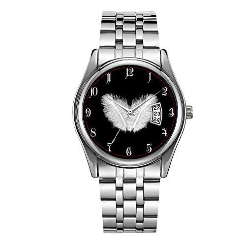 Reloj de los Hombres de Lujo 30m Impermeable Fecha Reloj Masculino Relojes Deportivos Hombres Cuarzo Casual Navidad Reloj de Pulsera Birdy Blanco Plumas Relojes de pulsera