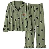Pyjama Damen Nachthemd Schlafanzug Mode Nachtwäsche Damen Baumwolle Cute Pyjamas Mädchen Langarm Tops Hosen Mit Taschen Dot Casual Lounge Wear L 016
