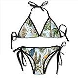 zhkx Bikini Seamless-Pattern-Exotic-Trees-Wild-Bird Bikini Set Two Piece,Triangle Padded Cut out Swimsuit for Ladies Swimming Costume