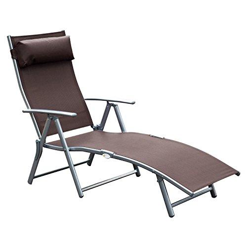 Outsunny transat Chaise Longue Bain de Soleil Pliable Dossier inclinable Multi-Positions têtière fournie 137L x 64l x 101H cm métal époxy textilène Marron