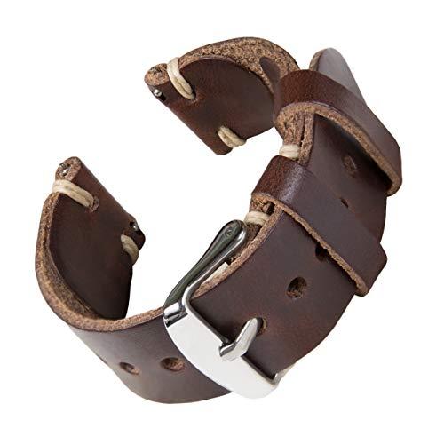 Archer Watch Straps - Correas de Reloj Hechas a Mano de Piel de Horween con Recambio de Liberación Rápida para Hombre y Mujer, para Relojes y Smartwatch (Marrón Oscuro/Hilo Natural, 18mm)