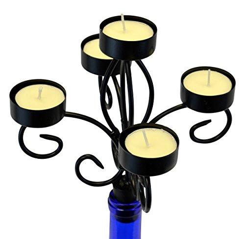 Southern Homewares Wein Flasche Topper 5Teelichthalter mit Kerzen Leuchter, Multicolor