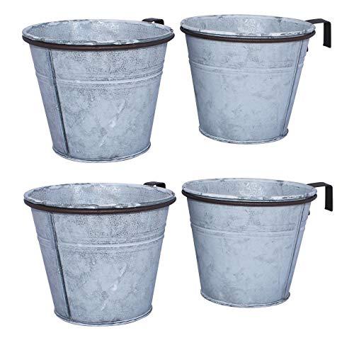 ARTECSIS 4er Set Pflanztopf mit Ringhalter, verzinkter Hängetopf, Blumentopf für Balkon Garten Geländer Palette 12cm Ø