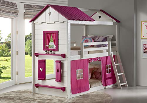 donco kids bunk beds DONCO Twin Sweetheart Bunk Bed W/Pink Tent BUNKBED TWIN/TWIN White