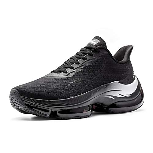 ONEMIX Zapatos de correr para hombre transpirable al aire libre zapatos de deportes de carretera zapatos de caminar diarios 2020, color Negro, talla 45 EU