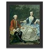 Marco americano (70x100cm): Martin van Meytens el más joven - El conde Giacomo Durazzo (1717-1794) en el disfraz de un cazador con su esposa (Ernestine Aloisia Ungnad von Weissenwolff, 1732-1794)
