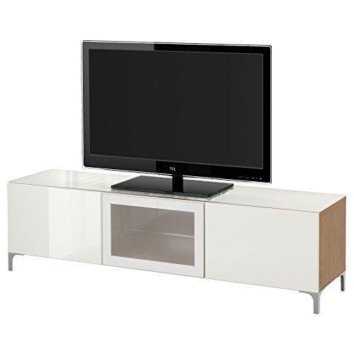 IKEA BESTA - Banc TV avec effet des portes en chêne / haute brillance Selsviken / blanc en verre dépoli