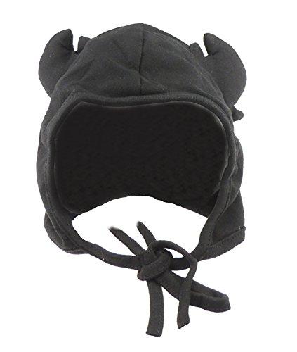 Glamour Girlz Bonnet d'hiver en coton pour bébé garçon et fille Motif cornes de cerf Noir 9 mois