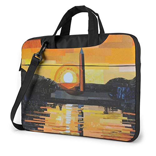 Laptop Umhängetasche 15,6 Zoll, Washington Monument Sunset Aktentasche Schutzhülle für Ultrabook, MacBook, Sony, Notebook