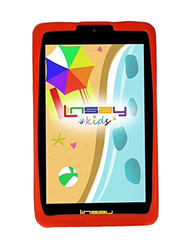 LINSAY 7' Kids Funny Tablet HD Screen Quad Core Bundle with Red Kids Defender Case Ultra-Protection - Camera Newest Android Operation System Thousands of Free Kids Applications. Google Certified