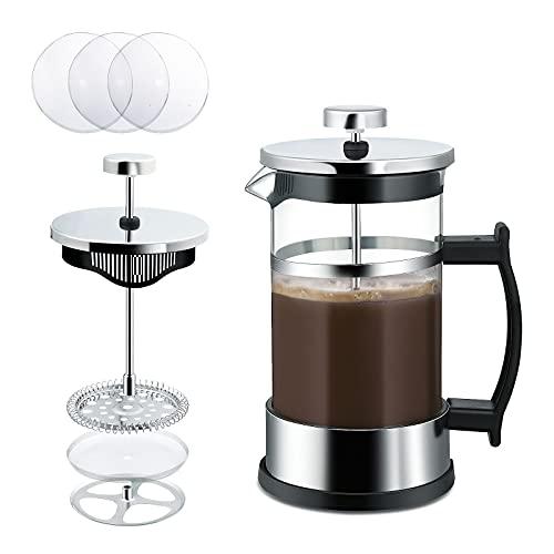 ZOEON 2 tazas (0.35 litro / 350 ml) Cafetera Francesa Espresso y Tetera Con Triple Filtro Émbolo French Press de Acero Inoxidable (350ML) ✅