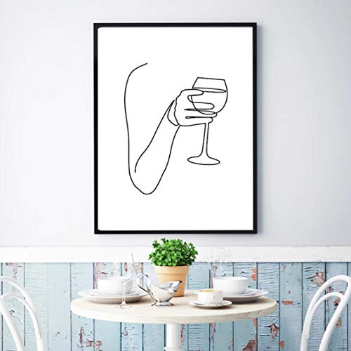 Danjiao Vino Abstracto Línea Fina Dibujo Pared Arte Lienzo Pintura Saludos Bar Carro Impresión Cartel Nórdico Minimalista Decoración De Pared Cocina Habitación Dec Sala De Estar Decor 40x60cm