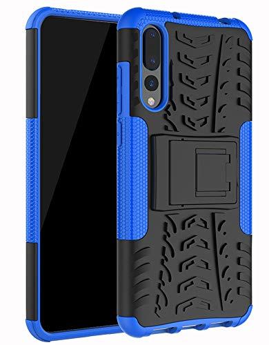 Yiakeng Funda Huawei P20 Pro Carcasa, Silicona a Prueba de Choques Soltar Protector con Kickstand Case para Huawei P20 Pro (Azul)
