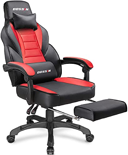BOSSIN Racing Style Gaming Chair Computer Desk Chair with Footrest and Headrest Ergonomic Design Large Size High-Back E-Sports Chair PU Leather Swivel Game Office Chair Sillas Gaming(Red)
