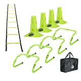 Pro Footwork Agility Ladder and Hurdle Training Set with Carry Bag - Speed Training Exercise...