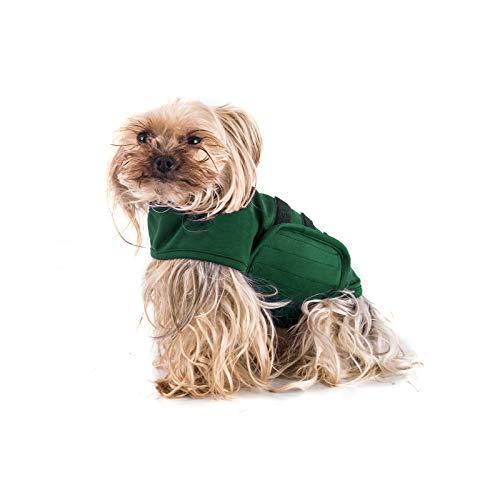 TT.WALK Jakcet Beruhigungsweste für Hunde, weich, für Angstzustände, bequemes Donner-Shirt für Hunde (Dunkelgrün, XS)