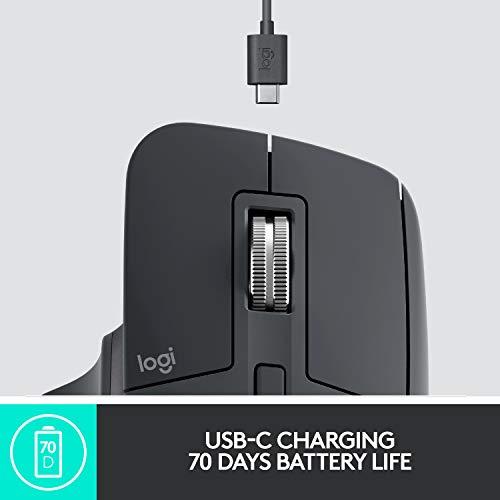 Logitech MX Master 3 Advanced Wireless Mouse, Ultrafast Scrolling, Ergonomic, 4000 DPI, Customization, USB-C, Bluetooth, USB, Apple Mac, Microsoft PC Windows, Linux, iPad - Graphite