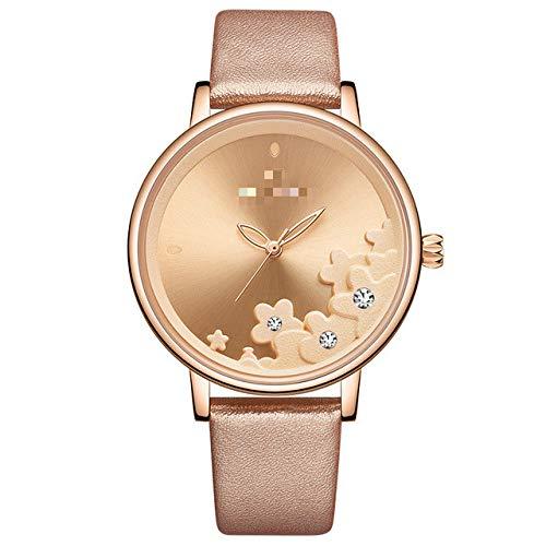 Reloj para Mujer, Relojes De Cuero Impermeables, Reloj De Pulsera De Cuarzo con Flores, Reloj Femenino con Dijes para Mujer