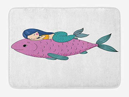 BTGSRK Mermaid Bath Mat, Baby Mermaid Sleeping on Top Giant Fish Happy Best Friends Kids Nursery Theme, Plush Bathroom Decor Mat with Non Slip Backing,Purple Teal 23.6(L) X15.7(W)
