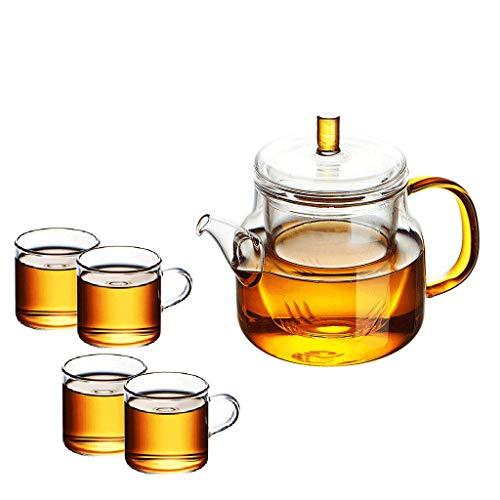 theepot, hoge temperatuurbestendig,4,kopjes, handgemaakt, gekleurd, glas, dik, glazen voering, transparant, Zichtbare gezondheid JXLBB 450ML