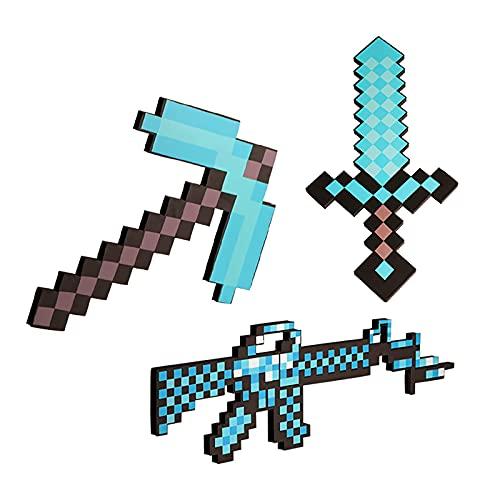 Creativity Blaues Diamant-Schwert Schaumstoff-Spielzeug Schwert Mc Spielzeug-Set Mine&Craft Pixel Spitzhacke Diamond Pixel Pistole Spektakuläres Kampfschwert Doppelaxt Zubehör Rollenspiel Requisiten