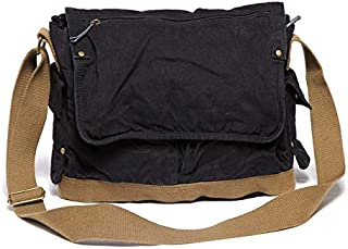 Leather Bag Mens Vintage Army Green Canvas Messenger Shoulder Bag Man Crossbody Bag Large Capacity Leisure Backpack High Capacity (Color : Black, Size : S)