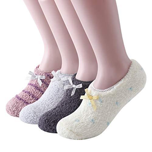 Ninecoo Cozy Fuzzy Women Socks,Gripper Slippers Socks Fluffy No Show House Socks Lightweight Non Skid Bottoms(White/Dark Gray/Gray/Coffee-4Pairs)