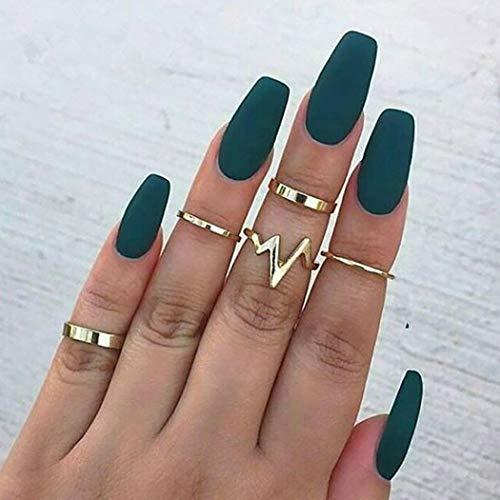 Fdesigner Coffin Matte False Nails Fashion Nude Fake Nails Acrylic Nail Art Accessories Long Press on Nails Artificial Nail Decoration French Fake Nail Tips for Women (Dark Green)