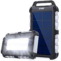 RYOKO Solar Charger 10000mAh,Portable Solar Power Bank with Led Flashlight,Ipx4 Waterproof High Capacity Dual Fast…