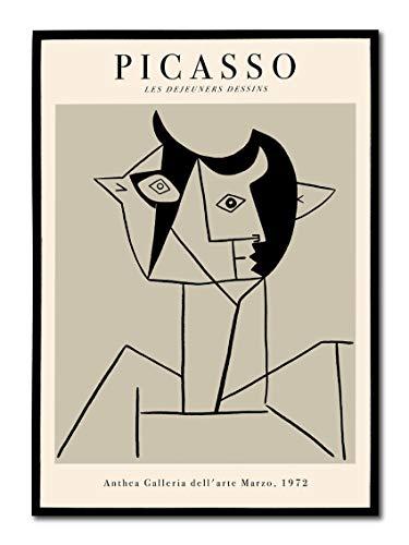 Quadro Stampa Su Tela Picasso Les Dejeuners, Vintage Anni 70. Grigio Tortora. Opere Famose Retrò. Design Style. (50 X 70 Cm)