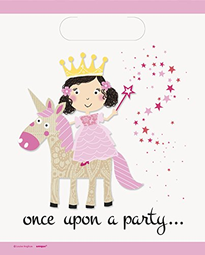Unique Party 54833 - Buste Regalo - Festa a Tema Principessa e Unicorno - Confezione da 8