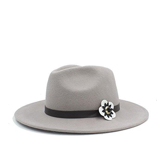 BAM - Hüte Breiter Sonnenhut, 100% Australien Wolle Frauen Fedora Hut mit Rinde weißen Blüten Für Frauen (Farbe : 1, Größe : 57-58CM)