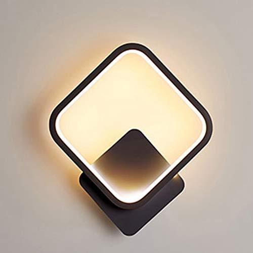 Yafido Aplique Pared Interior LED Cuadrado Lámpara de pared 13W Blanco Cálido 3000K Iluminación de Pared para Salon Escalera Dormitorio Sala Pasillo Negro