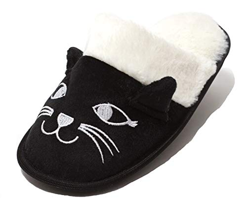 Zapato Damen Hausschuhe Puschen Schuhe Slipper lustige Tierhauschuhe Feste Sohle Gr. 38 – 41 schwarz weiß Katze (38 EU)