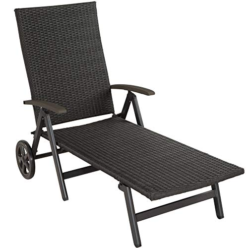 TecTake 800722 Aluminium Poly Rattan Sonnenliege mit Armlehnen und Rollen, klappbar, Gartenliege mit höhenverstellbarer Rückenlehne - Diverse Farben - (Schwarz | Nr. 403250)