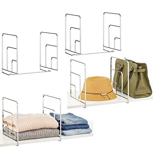 mDesign Set da 4 Divisori per armadi – Scaffali divisori per armadi in metallo per riporre gli indumenti con ordine – Pratici organizer armadio facili da montare – argento