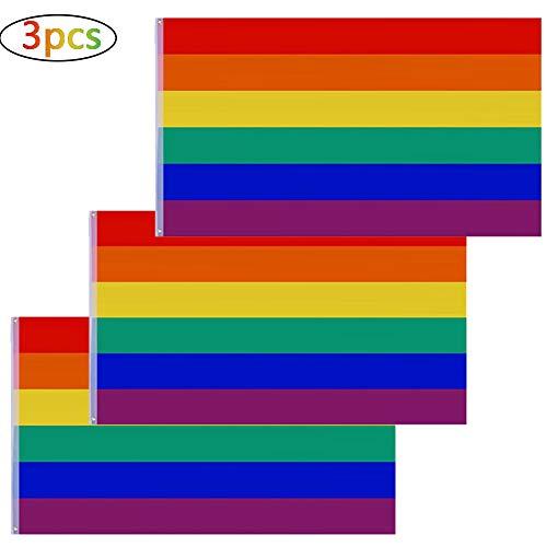 BETOY 3 pcs Regenbogen Flagge 90 x 150 cm LGBT Regenbogen Fahne Rainbow Flag Gay Fahne Gay Flagge Gay Flag Pride Flagge Banner Stolz Parade Flagge für die Schwulenparade