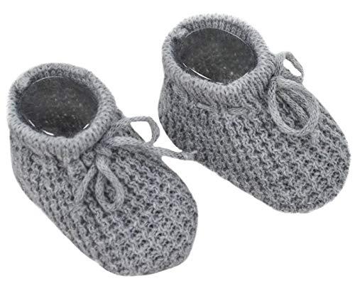Paar Babyschuhe, gestrickt, Grau mit Kordel