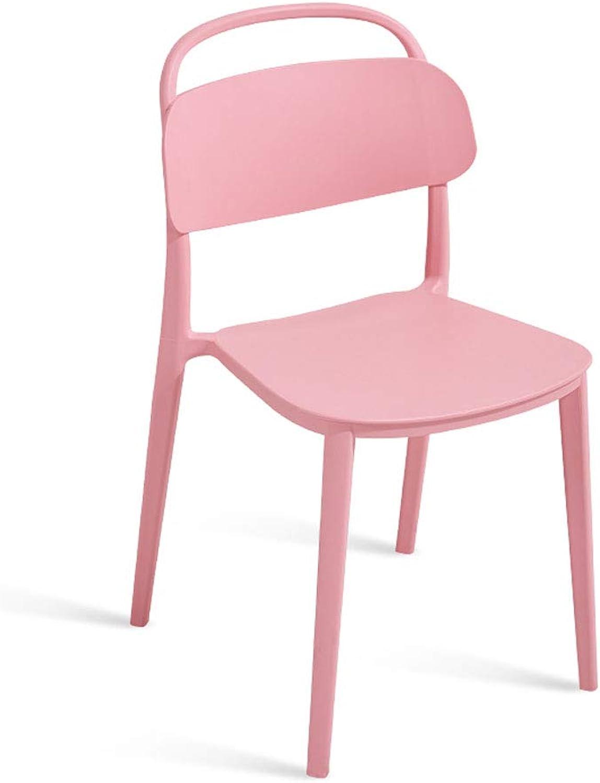CHX Simple Nordic Home Creative Plastic Restaurant Leisure Desk Chair Back Stool C (color   Pink, Size   L48CMXW43CM XH83CM)