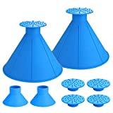 Seven Sparta Ice Scraper Round Cone 2 Pack Car Window Windshield Cone -Shaped 6.8' Larger Coverage Diameter Snow Removal Tool with Ice Breakers (Blue)