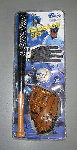 Baseball Starter Set Junior: Ball, Fang-Handschuh, Batting Glove und Holzschläger