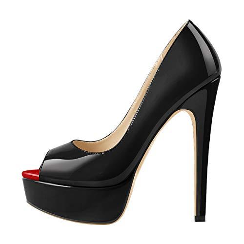 MissHeel Damen Peeptoes Plateau Pumps Elegante Stiletto High Heels für Büro Party Kleid Lack Optik Schwarz 39 EU