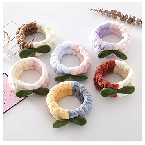 6pcs Hierba Bud Coral Fleece Suave Diadema Empalme Color Headwrap Mujeres Niñas Elástico Hairband Turbante Plush Accesorios para el Cabello