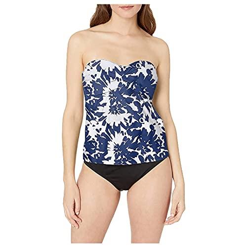 Bikini Damen Sommer Sexy Swimwear Push Up Set Casual Swimsuits Bikini Schulterfrei Bandeau Top Zweiteiliger Schwimmbikini High Waist Panty Figure Shaping Gathers Top